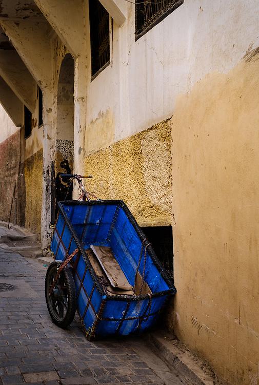 FEZ, MOROCCO - CIRCA APRIL 2017:  Transport cart at the Medina in Fez