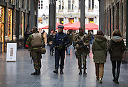 Nov. 22, 2015 - Brussels, BELGIUM - 20151122 - BRUSSELS, BELGIUM: <br /> <br />  police and soldiers at the Sint-Hubertusgalerij/ galerie Royale St-Hubert , Sunday 22 November 2015, in Brussels. The terrorist threat level was updated to level four, the maximum, in Brussels region, and stays at level three for the rest of the country. Shopping center, main shopping streets, subways and public events are closed and cancelled for the week-end because of the terrorist threat level four.<br /> ©Exclusivepix Media