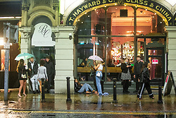 © Licensed to London News Pictures. 03/10/2020. Manchester, UK. People gather in the street on Peter Street . Pubs, bars and clubs close at 10pm in Manchester City Centre in order to comply with measures introduced to combat the spread of Coronavirus. Photo credit: Joel Goodman/LNP