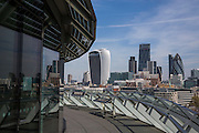 A view of the  buildings on the city of Londons skyline including the Walkie Talkie (20 Fenchurch Street) and the Gherkin (30 St Mary Axe). taken from the balcony of City Hall, Central London, UK. (photo by Andrew Aitchison / In pictures via Getty Images)