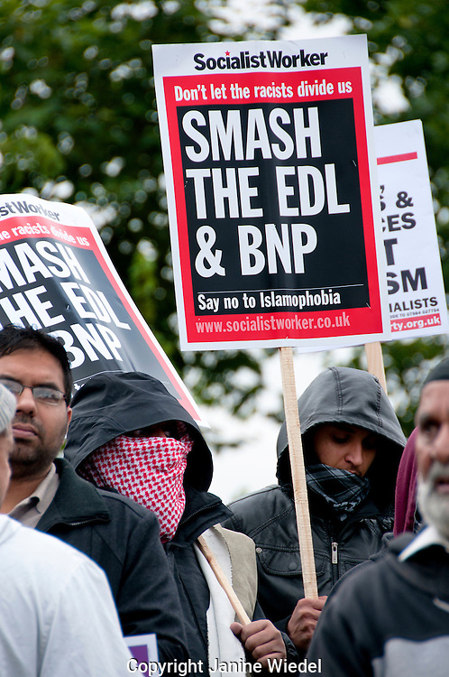 Unite Against Facism and local people from Walthamstow  prevent the racist English Defence League (EDL) marching through the center of town.