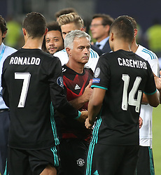August 8, 2017 - Skopje, Macedonia - Jose Mourinho, Manager of Manchester United shakes hands with Casemiro of Real Madrid after the UEFA Super Cup match between Real Madrid and Manchester United at National Arena Filip II Macedonian on August 8, 2017 in Skopje, Macedonia. (Credit Image: © Raddad Jebarah/NurPhoto via ZUMA Press)