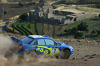 AUTO - WRC 2003 - CYPRUS RALLY -  20030622 - <br />N¡ 7 - PETTER SOLBERG - PHILL MILLS / SUBARU IMPREZA WRC - ACTION<br />PHOTO : FRANCOIS FLAMAND /DIGITALSPORT