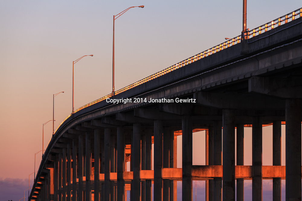 The William M. Powell Bridge connects the Florida mainland to Key Biscayne and Virginia Key as part of Miami's Rickenbacker Causeway. The bridge is also effectively the highest hill in South Florida at 80 feet in height.<br /> WATERMARKS WILL NOT APPEAR ON PRINTS OR LICENSED IMAGES.