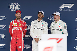 November 10, 2018 - Sao Paulo, Sao Paulo, Brazil - SEBASTIAN VETTEL (L), LEWIS HAMILTON (C) and VALTERI BOTTAS,  after the qualifying session to the Formula One GP Brazil 2018 at Interlagos circuit, in Sao Paulo, Brazil. The grand prix will be celebrated next Sunday, November 11. (Credit Image: © Paulo LopesZUMA Wire)