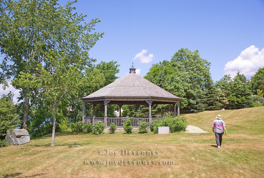 Gazebo in the waterfront park at the Ellsworth Harbor public boat landing. Ellsworth, Maine