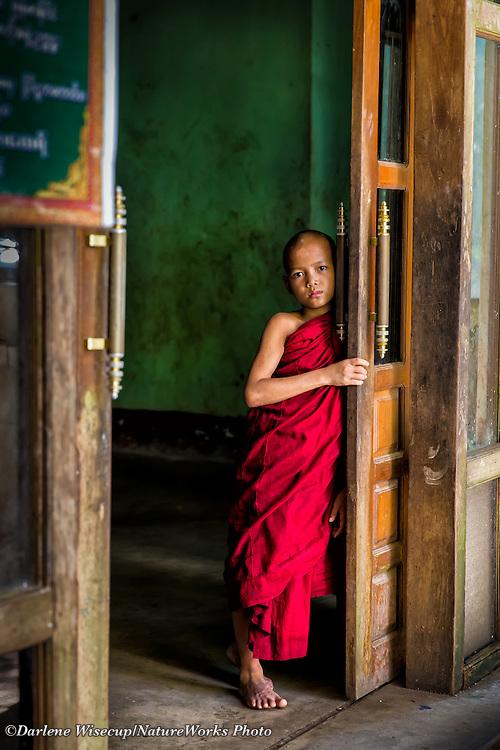 Novice monk portrait at Kalaywa Taw Ya Monastery.  Yangon, Myanmar.