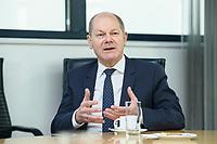 02 DEC 2020, BERLIN/GERMANY:<br /> Olaf Scholz, SPD, Bundesfinanzminister, im Gespraech, Willy-Brandt-Haus<br /> IMAGE: 20201202-02-017