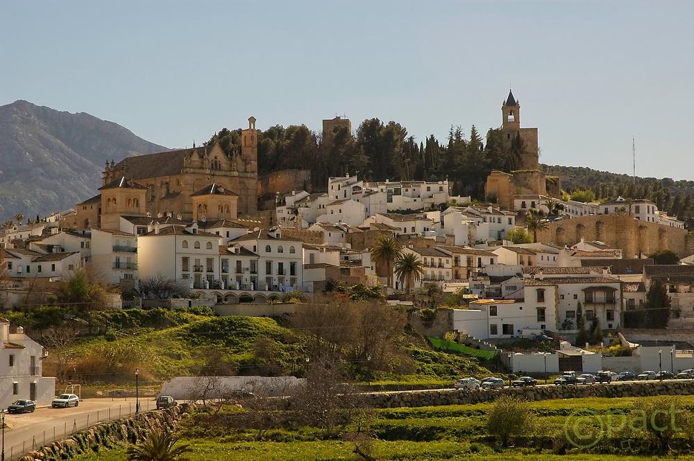 Antequera view of the collegiate santa maria and alcazaba malaga andalucia spain. Castillo del Papabellotas, Antequera, Malaga. Spain