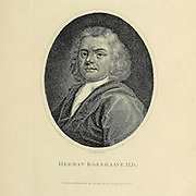 "Herman Boerhaave (31 December 1668 – 23 September 1738) was a Dutch botanist, chemist, Christian humanist, and physician of European fame. He is regarded as the founder of clinical teaching and of the modern academic hospital and is sometimes referred to as ""the father of physiology,"" Boerhaave introduced the quantitative approach into medicine. Copperplate engraving From the Encyclopaedia Londinensis or, Universal dictionary of arts, sciences, and literature; Volume III;  Edited by Wilkes, John. Published in London in 1810"