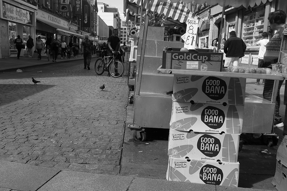 Street vendor setting up shop in Dublin, Ireland.