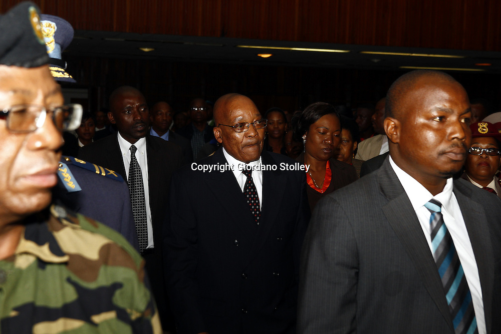 PRETORIA - 16 December 2010 - South African President Jacob Zuma arrives at the Day of Reconciliation festivities, where he later said that soldiers who can't obey commands, be loyal, disciplined and reliable should not be a part of the Defence Force (SANDF). -- APP/Allied Picture Press