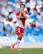 Cesc Fabregas of AS Monaco reacts during the preseason game ahead of the start of La Liga Santander between Real Sociedad and AS Monaco at Reale Arena stadium on Jul 28, 2021 in San Sebastian, Spain.