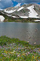 Lewis Lake below 12.013 ft. Medicine Bow Peak of the Snowy Range.  Medicine Bow Mountains, Wyoming.