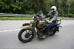 Greg McFarland riding his 1926 Harley-Davidson JD duringStage 4 of the Motorcycle Cannonball Cross-Country Endurance Run, which on this day ran from Chatanooga to Clarksville, TN., USA. Monday, September 8, 2014.  Photography ©2014 Michael Lichter.