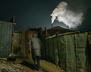 Evening air pollution in the Bayankhoshuu Ger district.<br /> Mongolia