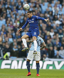 BRITAIN-LONDON-FOOTBALL-CARABAO CUP FINAL-CHELSEA VS MAN London.(190224) -- LONDON, Feb. 24, 2019  Chelsea's Eden Hazard vies with Manchester City's Nicolas Otamendi during the Carabao Cup Final match between Chelsea and Manchester City at Wembley Stadium in London, Britain on Feb. 24, 2019. Manchester City won 4-3 on penalties after a 0-0 draw.  FOR EDITORIAL USE ONLY. NOT FOR SALE FOR MARKETING OR ADVERTISING CAMPAIGNS. NO USE WITH UNAUTHORIZED AUDIO, VIDEO, DATA, FIXTURE LISTS, CLUB/LEAGUE LOGOS OR ''LIVE'' SERVICES. ONLINE IN-MATCH USE LIMITED TO 45 IMAGES, NO VIDEO EMULATION. NO USE IN BETTING, GAMES OR SINGLE CLUB/LEAGUE/PLAYER PUBLICATIONS. (Credit Image: © Matthew Impey/Xinhua via ZUMA Wire)
