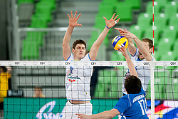 Matevz Kamnik #7 and Tine Urnaut #13 of Slovenia during qualifications match for FIVB Men's World Championship 2014 between National team Slovenia and Israel in pool B on May 24, 2013 in SRC Stozice, Ljubljana, Slovenia. (Photo By Urban Urbanc / Sportida)