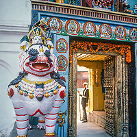 A guard restricts access only to Hindus at Hanuman Dhoka Palace in the  the Durbar Squaretemple complex  in Kathmandu, Nepal.