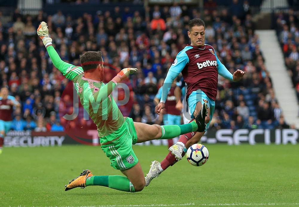 Ben Foster of West Bromwich Albion fouls Javier Hernandez of West Ham United - Mandatory by-line: Paul Roberts/JMP - 16/09/2017 - FOOTBALL - The Hawthorns - West Bromwich, England - West Bromwich Albion v West Ham United - Premier League