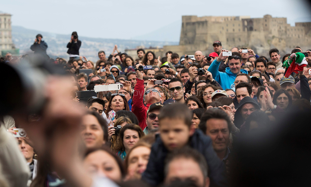 America's Cup World Series Naples/ ACWS Naples. Italy. Crowds watch the racing and prize giving ceremony today..Please credit: Lloyd Images