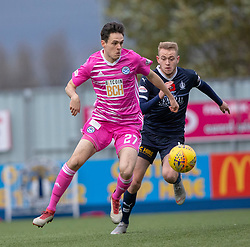 Ayr United's Liam Smith and Falkirk's Patrick Brough. half time : Falkirk 0 v 0 Ayr United, Scottish Championship game played 3/11/2018 at The Falkirk Stadium.