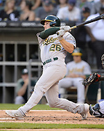 CHICAGO - AUGUST 10:  Matt Chapman #26 of the Oakland Athletics hits a home run against the Chicago White Sox on August 10, 2019 at Guaranteed Rate Field in Chicago, Illinois.  (Photo by Ron Vesely)  Subject:   Matt Chapman