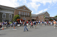 COOPERSTOWN, NY - JULY 26: White Sox fans join tens of thousands of other baseball fans downtown during Hall of Fame weekend in Cooperstown, New York on July 26, 2014.