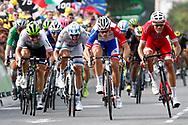 Arrival sprint, Arnaud Demare (FRA - Groupama - FDJ), Christophe Laporte (FRA - Cofidis), Alexander Kristoff (NOR - UAE Team Emirates) during the 105th Tour de France 2018, Stage 18, Trie sur Baise - Pau (172 km) on July 26th, 2018 - Photo Luca Bettini / BettiniPhoto / ProSportsImages / DPPI