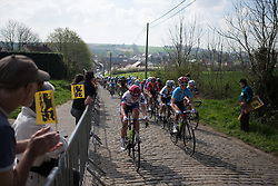 Lisa Klein (GER) and Cecilie Uttrup Ludwig (DEN) of Cervélo-Bigla Cycling Team lead the peloton up on the Eikenberg during the Ronde Van Vlaanderen - a 153.2 km road race, starting and finishing in Oudenaarde on April 2, 2017, in East Flanders, Belgium.