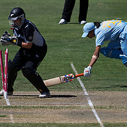 Rachel Priest runs out Shravanti Naidu during the match between New Zealand and India in the Super 6 stage of the ICC Women's World Cup Cricket tournament at North Sydney  Oval, Sydney, Australia on March 17, 2009. Photo Tim Clayton