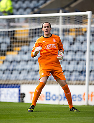 Falkirk's keeper Jamie MacDonald.<br /> Raith Rovers 0 v 0 Falkirk, Scottish Championship game played 27/9/2014 at Raith Rovers Stark Park.