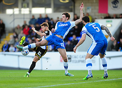 Bristol Rovers' Matty Taylor is challenged by Chester's Ben Heneghan - Photo mandatory by-line: Neil Brookman/JMP - Mobile: 07966 386802 - 22/11/2014 - Sport - Football - Chester - Deva Stadium - Chester v Bristol Rovers - Vanarama Football Conference