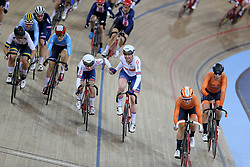 Laura Kenny and Katie Archibald of Great Britain during the Women's Madison Final during day three of the Tissot UCI Track Cycling World Cup at Lee Valley VeloPark, London.