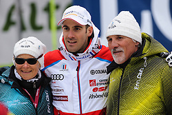20.12.2013, Saslong, Groeden, ITA, FIS Ski Weltcup, Groeden, Herren, SuperG, im Bild Adrien Theaux (FRA , 3. Platz) mit seinen Eltern // 3rd place Adrien Theaux of France with his parents reacts at the finish area during mens Super-G of the Groeden FIS Sk Alpine World Cup at the Saslong Course in Gardena, Italy on 2012/12/20. EXPA Pictures © 2013, PhotoCredit: EXPA/ Johann Groder