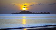 Cousin Island at sunrise from Praslin, Seychelles