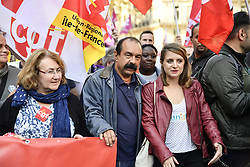 October 9, 2018 - Paris, Ile-de-France (region, France - Philippe Martinez at the head of the procession of the Interprofessional Manifestation in Paris against the policy of the government of Emmanuel Macron. (Credit Image: © Julien Mattia/Le Pictorium Agency via ZUMA Press)