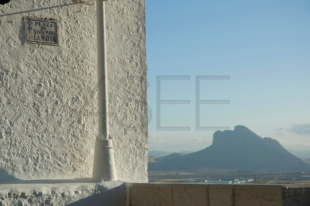 Lover Rock view from the Castle - ANTEQUERA - Malaga province - Andalusia region - Spain. Route by train after the steps of Washington Irving, romantic American writer who travelled in 1829 from Seville to Granada, where he wrote 'Tales of the Alhambra'. Fascinated by the wealth and exoticism of the Spanish-Muslim civilization, Irving was responsible, along with the French writers of the 19th century, for the romantic image of Al-Andalus. Alberto Paredes / 4SEE