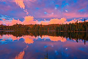 Morning clouds reflected in Crozier Lake in Algoma District<br />North of Lake Superior Provincial Park<br />Ontario<br />Canada