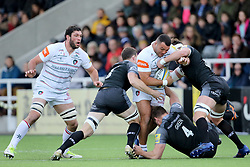 Leicester Tigers' Ellis Genge powers through the Falcons defence during the Aviva Premiership match at Kingston Park, Newcastle.
