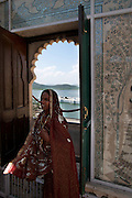 Indian Lady and window: Saheliyon – Ki – Bari Udaipur - India 2011