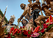 Some of the floats are century old and part of the city heritage. This depicting one of the scenes from the Via Crucis, belongs to a brotherhood in Cordoba. Andalusia, Spain.