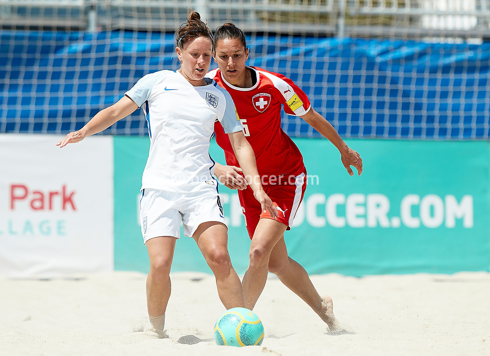 SALOU, SPAIN - MAY 11: Daniela Pluss of Switzerland competes for the ball with Gemma Hillier of England during the World Beach Games-Europe Qualifier Salou match between England and Switzerland at Sport Complex Futbol Salou on May 11, 2019 in Salou, Barcelona. (Photo by Pedro Salado)