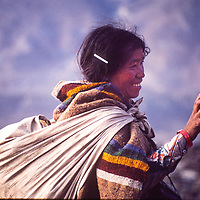 A village woman in the Muktinath Valley, norh of Annapurna in Nepal.