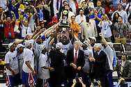 7 APR 2008: The University of Kansas celebrates their victory during final game of the 2008 NCAA Final Four Division I Men's Basketball championships held at the Alamodome in San Antonio, TX.  Kansas defeated Memphis 75-68 to win the national title.  Brett Wilhelm/NCAA Photos