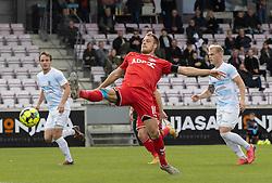 Anders Holvad (FC Fredericia) strækker sig efter bolden under kampen i 1. Division mellem FC Fredericia og FC Helsingør den 4. oktober 2020 på Monjasa Park i Fredericia (Foto: Claus Birch).