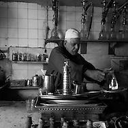 Egypt. Cairo : Mr FAROUK cafe and tea . street life in front of the Madrassa UM AL sultan Shaban - Cha'Ban -  in Darb al Ahmar  street, islamic Cairo     NM125