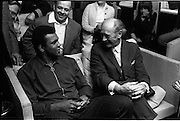 "12/07/1972<br /> 07/12/1972<br /> 12 July 1972<br /> Muhammad Ali meets Taoiseach Jack Lynch at Leinster House, Dublin. In the background is Butty Sugrue who organised the fight between Ali and Al ""Blue"" Lewis."