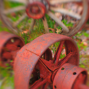Wagon Wheel And Rusted Rotary Pump - Pottsville - Merlin, Oregon - Lensbaby