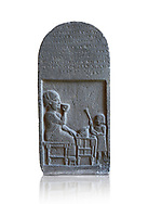 Neo Hittite basalt funerary stele with an aramean inscription from Neirab or Tell Afis, Syria, 7th cent BC. Louvre Museum. White background